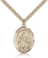"Gold Filled St. Sophia Pendant, Stainless Gold Heavy Curb Chain, Large Size Catholic Medal, 1"" x 3/4"""