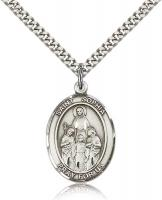 "Sterling Silver St. Sophia Pendant, Stainless Silver Heavy Curb Chain, Large Size Catholic Medal, 1"" x 3/4"""