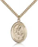 "Gold Filled St. Ambrose Pendant, Stainless Gold Heavy Curb Chain, Large Size Catholic Medal, 1"" x 3/4"""