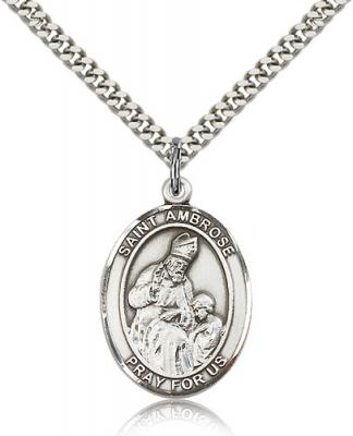 "Sterling Silver St. Ambrose Pendant, Stainless Silver Heavy Curb Chain, Large Size Catholic Medal, 1"" x 3/4"""