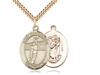 "Gold Filled St. Christopher/Volleyball Pendant, SG Heavy Curb Chain, Large Size Catholic Medal, 1"" x 3/4"""