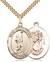"Gold Filled St. Christopher/Lacrosse Pendant, SG Heavy Curb Chain, Large Size Catholic Medal, 1"" x 3/4"""