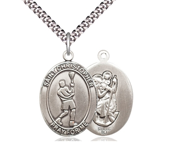 "Sterling Silver St. Christopher/Lacrosse Pendant, Stainless Silver Heavy Curb Chain, Large Size Catholic Medal, 1"" x 3/4"""