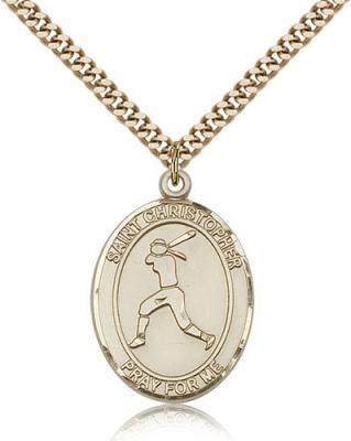 "Gold Filled St. Christopher/Softball Pendant, SG Heavy Curb Chain, Large Size Catholic Medal, 1"" x 3/4"""