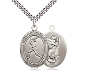 "Sterling Silver St. Christopher/Softball Pendant, SN Heavy Curb Chain, Large Size Catholic Medal, 1"" x 3/4"""