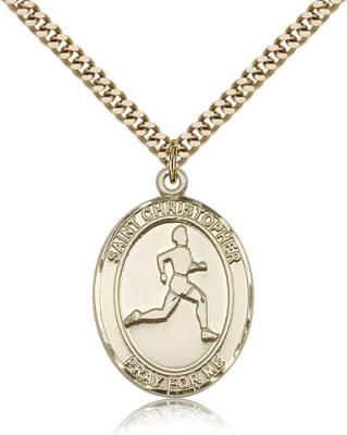 "Gold Filled St. Christopher/Track & Field Pendant, SG Heavy Curb Chain, Large Size Catholic Medal, 1"" x 3/4"""