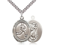"Sterling Silver St. Christopher/Track&Field Pendan, Stainless Silver Heavy Curb Chain, Large Size Catholic Medal, 1"" x 3/4"""