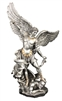 St. Michael Statue pewter style finish golden highlights 14.5 inch