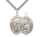 "Sterling Silver St. Christopher soccer Pendant, Stainless Silver Heavy Curb Chain, Large Size Catholic Medal, 1"" x 3/4"""