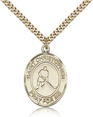 "Gold Filled St. Christopher/Ice Hockey Pendant, SG Heavy Curb Chain, Large Size Catholic Medal, 1"" x 3/4"""