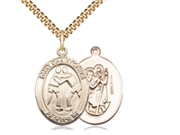 "Gold Filled St. Christopher/Wrestling Pendant, SG Heavy Curb Chain, Large Size Catholic Medal, 1"" x 3/4"""