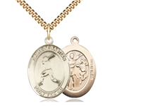 "Gold Filled St. Sebastian/Baseball Pendant, SG Heavy Curb Chain, Large Size Catholic Medal, 1"" x 3/4"""