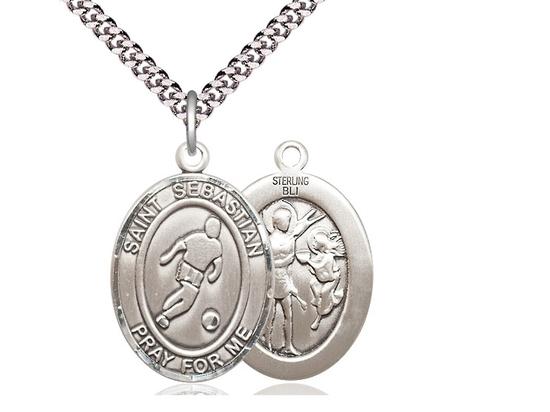 Silver st sebastian pendant stainless silver heavy curb chain sterling silver st sebastian pendant stainless silver heavy curb chain large size catholic medal aloadofball Images