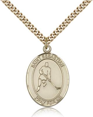 "Gold Filled St. Sebastian/Ice Hockey Pendant, SG Heavy Curb Chain, Large Size Catholic Medal, 1"" x 3/4"""
