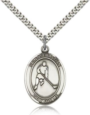"Sterling Silver St. Sebastian/Ice Hockey Pendant, SN Heavy Curb Chain, Large Size Catholic Medal, 1"" x 3/4"""