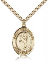 "Gold Filled St. Sebastian Pendant, Stainless Gold Heavy Curb Chain, Large Size Catholic Medal, 1"" x 3/4"""