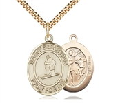 "Gold Filled St. Sebastian/Skiing Pendant, SG Heavy Curb Chain, Large Size Catholic Medal, 1"" x 3/4"""