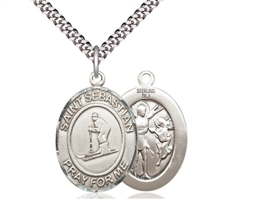 "Sterling Silver St. Sebastian/Skiing Pendant, SN Heavy Curb Chain, Large Size Catholic Medal, 1"" x 3/4"""
