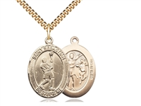 "Gold Filled St. Sebastian/Lacrosse Pendant, SG Heavy Curb Chain, Large Size Catholic Medal, 1"" x 3/4"""