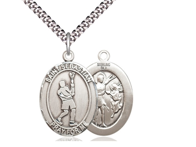 "Sterling Silver St. Sebastian Lacrosse Pendant, rhodium  Heavy Curb Chain, Large Size Catholic Medal, 1"" x 3/4"""
