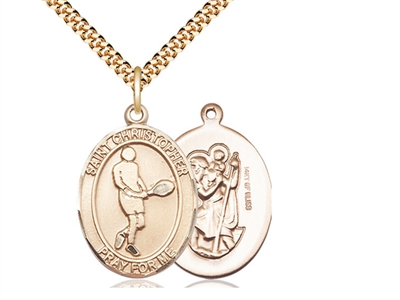 "Gold Filled St. Sebastian/Surfing Pendant, SG Heavy Curb Chain, Large Size Catholic Medal, 1"" x 3/4"""