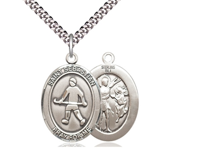 "Sterling Silver St. Sebastian / Field Hockey Pendant, Stainless Silver Heavy Curb Chain, Large Size Catholic Medal, 1"" x 3/4"""