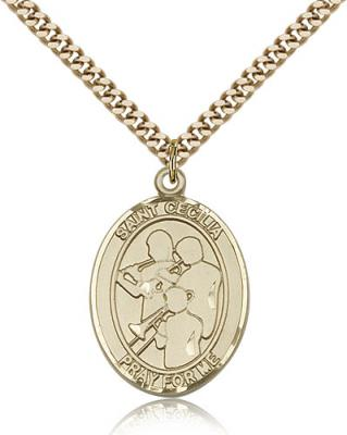 "Gold Filled St. Cecilia / Marching Band Pendant, SG Heavy Curb Chain, Large Size Catholic Medal, 1"" x 3/4"""