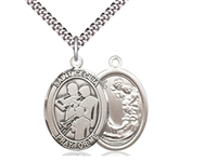 "Sterling Silver St. Cecilia / Marching Band Pendan, Stainless Silver Heavy Curb Chain, Large Size Catholic Medal, 1"" x 3/4"""