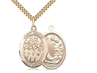 "Gold Filled St. Cecilia / Choir Pendant, SG Heavy Curb Chain, Large Size Catholic Medal, 1"" x 3/4"""