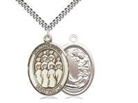 "Sterling Silver St. Cecilia / Choir Pendant, SN Heavy Curb Chain, Large Size Catholic Medal, 1"" x 3/4"""