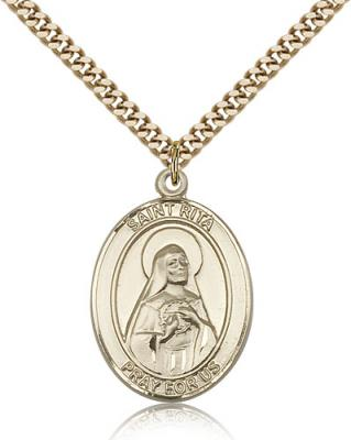 "Gold Filled St. Rita / Baseball Pendant, SG Heavy Curb Chain, Large Size Catholic Medal, 1"" x 3/4"""