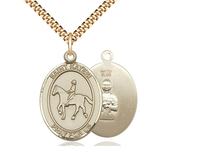 "Gold Filled St. Kateri / Equestrian Pendant, SG Heavy Curb Chain, Large Size Catholic Medal, 1"" x 3/4"""