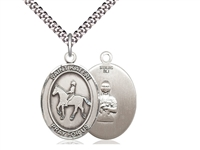 "Sterling Silver St. Kateri / Equestrian Pendant, SN Heavy Curb Chain, Large Size Catholic Medal, 1"" x 3/4"""