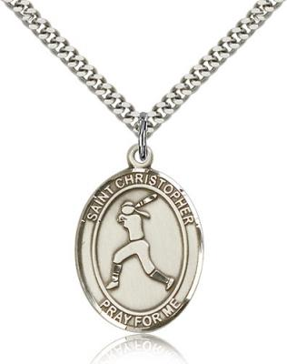 "Sterling Silver St. Sebastian / Softball Pendant, Stainless Silver Heavy Curb Chain, Large Size Catholic Medal, 1"" x 3/4"""