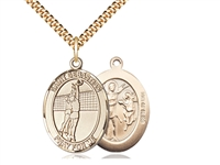 "Gold Filled St. Sebastian / Volleyball Pendant, SG Heavy Curb Chain, Large Size Catholic Medal, 1"" x 3/4"""