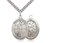 "Sterling Silver St. Sebastian / Volleyball Pendant, Stainless Silver Heavy Curb Chain, Large Size Catholic Medal, 1"" x 3/4"""
