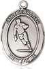 "Sterling Silver St. Sebastian / Rugby Pendant, SN Heavy Curb Chain, Large Size Catholic Medal, 1"" x 3/4"""