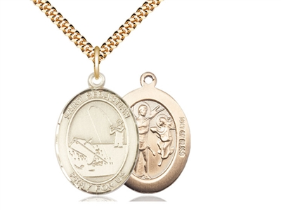 "Gold Filled St. Sebastian / Fishing Pendant, SG Heavy Curb Chain, Large Size Catholic Medal, 1"" x 3/4"""