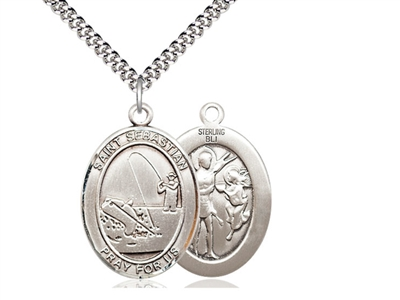 "Sterling Silver St. Sebastian / Fishing Pendant, SN Heavy Curb Chain, Large Size Catholic Medal, 1"" x 3/4"""