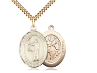 "Gold Filled St. Sebastian / Archery Pendant, SG Heavy Curb Chain, Large Size Catholic Medal, 1"" x 3/4"""