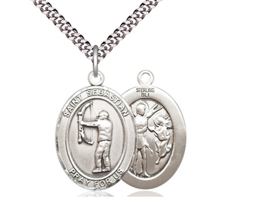 "Sterling Silver St. Sebastian / Archery Pendant, Stainless Silver Heavy Curb Chain, Large Size Catholic Medal, 1"" x 3/4"""