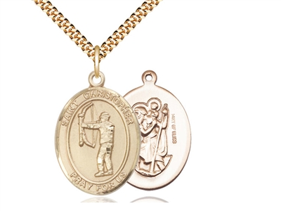 "Gold Filled St. Christopher Pendant, Stainless Gold Heavy Curb Chain, Large Size Catholic Medal, 1"" x 3/4"""