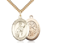 "Gold Filled St. Sebastian / Rodeo Pendant, SG Heavy Curb Chain, Large Size Catholic Medal, 1"" x 3/4"""
