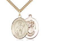 "Gold Filled St. Christopher / Rodeo Pendant, SG Heavy Curb Chain, Large Size Catholic Medal, 1"" x 3/4"""