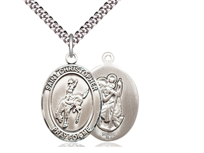 "Sterling Silver St. Sebastian / Rodeo Pendant, Stainless Silver Heavy Curb Chain, Large Size Catholic Medal, 1"" x 3/4"""