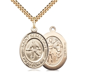 "Gold Filled St. Christopher / Field Hockey Pendant, SG Heavy Curb Chain, Large Size Catholic Medal, 1"" x 3/4"""