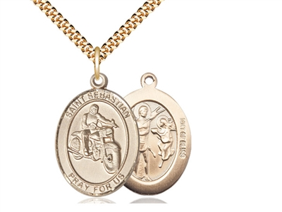 "Gold Filled St. Sebastian / Motorcycle Pendant, SG Heavy Curb Chain, Large Size Catholic Medal, 1"" x 3/4"""