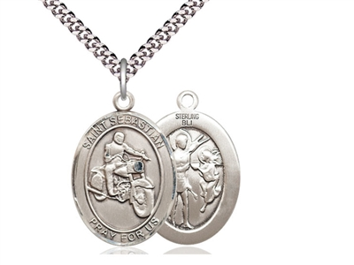 "Sterling Silver St. Sebastian / Motorcycle Pendant, SN Heavy Curb Chain, Large Size Catholic Medal, 1"" x 3/4"""