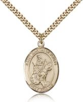 "Gold Filled St. Martin of Tours Pendant, Stainless Gold Heavy Curb Chain, Large Size Catholic Medal, 1"" x 3/4"""