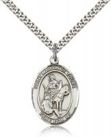 "Sterling Silver St. Martin of Tours Pendant, Stainless Silver Heavy Curb Chain, Large Size Catholic Medal, 1"" x 3/4"""